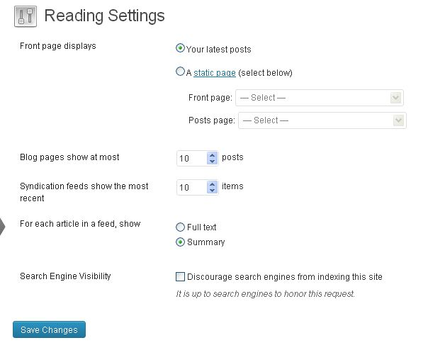 reading page settings.
